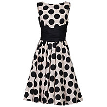 Buy Jolie Moi Wrapped Waist Polka Dot Dress, Black/White Online at johnlewis.com