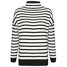 Buy Whistles Striped Grown On Neck Knit, Black/White Online at johnlewis.com