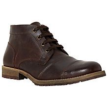 Buy Dune Chamater Leather Chukka Boots, Dark Brown Online at johnlewis.com