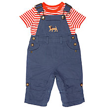 Buy John Lewis Baby Dog Dungaree and T-Shirt Set, Blue/Orange Online at johnlewis.com