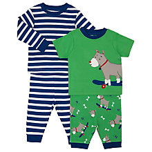 Buy John Lewis Baby Dog Mix and Match Pyjamas, Pack of 2, Green/Blue Online at johnlewis.com
