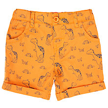 Buy John Lewis Baby Dinosaur Print Shorts, Orange Online at johnlewis.com