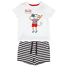 Buy John Lewis Baby Monkey T-Shirt Short Set, White/Grey Online at johnlewis.com