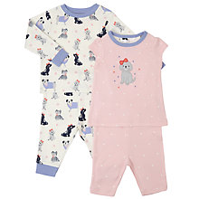 Buy John Lewis Baby Dog Mix and Match Pyjamas, Pack of 2, Pink Online at johnlewis.com