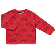 Buy John Lewis Baby Tiger Print Sweatshirt, Red Online at johnlewis.com