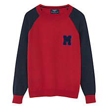 Buy Mango Kids Boys' Monochrome Cotton Sweater, Red Online at johnlewis.com