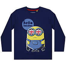 Buy Minions Boys' Hello London Top, Navy Online at johnlewis.com