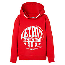 Buy Mango Kids Boys' Detroit Michigan Hoodie, Bright Red Online at johnlewis.com
