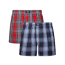 Buy Gant Check Woven Cotton Boxers, Pack of 2, Red/Navy Online at johnlewis.com