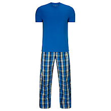 Buy John Lewis Aaron Check Trousers and T-Shirt Pyjama Set, Blue Online at johnlewis.com