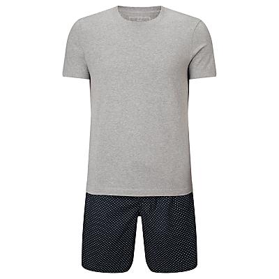 John Lewis Pop Dot Shorts and T-Shirt Pyjama Set, Grey/Navy