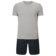 Buy John Lewis Pop Dot Shorts and T-Shirt Pyjama Set, Grey/Navy Online at johnlewis.com