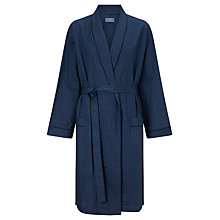 Buy John Lewis Micro Paisley Cotton Robe, Navy Online at johnlewis.com