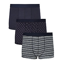 Buy John Lewis Dot/Stripe/Circle Trunks, Pack of 3, Navy Online at johnlewis.com