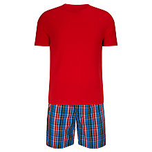 Buy John Lewis Eric Check Shorts and T-Shirt Pyjama Set, Red Online at johnlewis.com