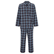 Buy John Lewis Tim Check Brushed Cotton Twill Pyjamas, Blue Online at johnlewis.com