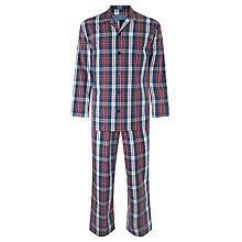 Buy John Lewis Alan Check Woven Cotton Pyjamas, Navy/Red Online at johnlewis.com