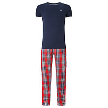 Buy Gant T-Shirt and Check Trousers Lounge Set, Navy/Red Online at johnlewis.com