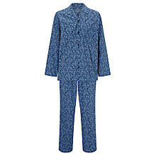 Buy John Lewis Floral Archive Woven Cotton Pyjamas, Blue Online at johnlewis.com