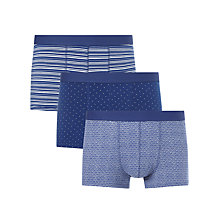 Buy John Lewis Colour Dot/Shell/Stripe Trunks, Pack of 3, Blue Online at johnlewis.com