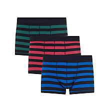 Buy John Lewis Rugby Stripe Trunks, Pack of 3, Pink/Blue/Green Online at johnlewis.com