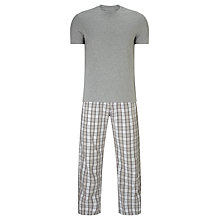 Buy John Lewis Juan Check Trousers and T-Shirt Pyjama Set, Grey Online at johnlewis.com