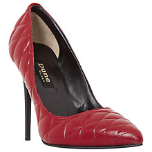 Buy Dune Black Alba Leather Quilted Pointed Toe Court Online at johnlewis.com
