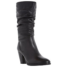 Buy Dune Rossy Block Heeled Slouched Calf Boots, Black Leather Online at johnlewis.com