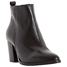 Buy Dune Black Piper Leather Block Heeled Ankle Boots Online at johnlewis.com