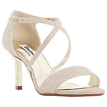 Buy Dune Mindee Diamanté Strappy Stiletto Suede Sandals, Gold Online at johnlewis.com