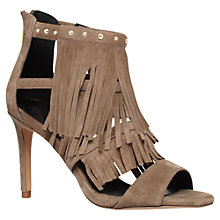 Buy KG by Kurt Geiger Iggie Fringe High Heel Sandals, Taupe Suede Online at johnlewis.com
