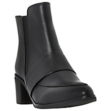 Buy Dune Peeti Block Heeled Ankle Loafer Boots, Black Online at johnlewis.com