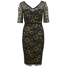 Buy Gina Bacconi Metallic Scallop Lace Dress, Black/Gold Online at johnlewis.com