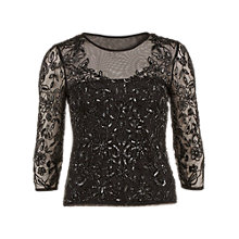 Buy Gina Bacconi Sequinned Mesh Top, Black Online at johnlewis.com