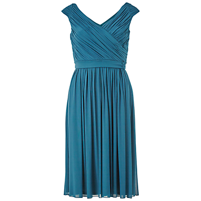Gina Bacconi V-Neck Mesh Dress With Pleated Bodice, Teal