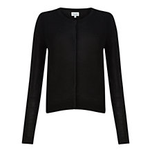Buy Jigsaw Merino Wool Crew Neck Cardigan, Black Online at johnlewis.com