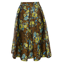 Buy Karen Millen Jacquard Floral Skirt, Khaki Online at johnlewis.com