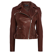 Buy Karen Millen Signature Biker Jacket, Augergine Online at johnlewis.com