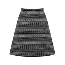 Buy Oasis Hattie Mono Jacquard Skirt, Black Online at johnlewis.com