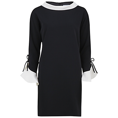 Gina Bacconi Moss Crepe Dress With Contrast Collar, Black