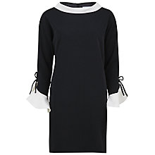 Buy Gina Bacconi Moss Crepe Dress With Contrast Collar, Black Online at johnlewis.com