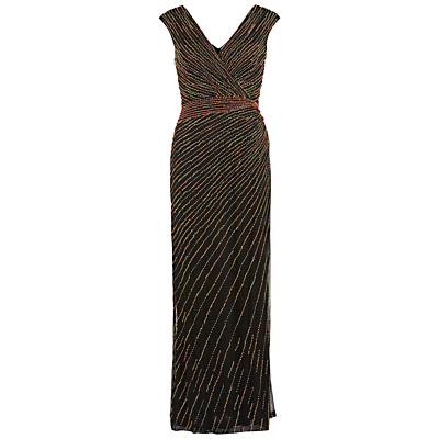 Gina Bacconi Long V-Neck Beaded Gown, Coral