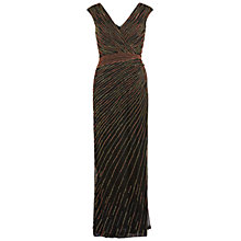 Buy Gina Bacconi Long V-Neck Beaded Gown, Coral Online at johnlewis.com