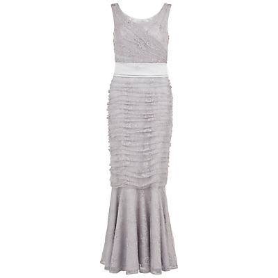 Gina Bacconi Beaded Lace Fishtail Gown, Grey