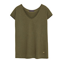 Buy Violeta by Mango Metallic Stripes T-Shirt, Dark Yellow Online at johnlewis.com