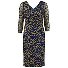 Buy Gina Bacconi Metallic Lace Wrap Dress, Navy Online at johnlewis.com