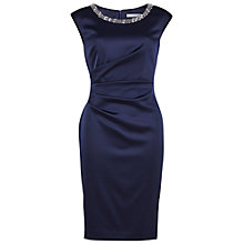 Buy Gina Bacconi Ruched Dress With Beaded Neckline, Navy Online at johnlewis.com