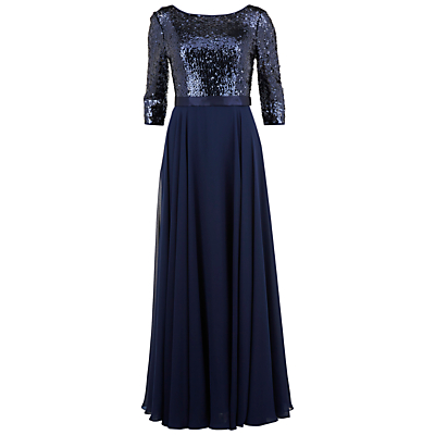 Gina Bacconi Long Chiffon Dress With Sequin Bodice, Navy