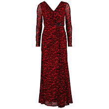 Buy Gina Bacconi Long Mesh Dress With Ruched Bodice, Red Online at johnlewis.com