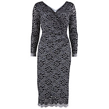 Buy Gina Bacconi Stretch Scallop Lace Wrap Dress, Silver Online at johnlewis.com